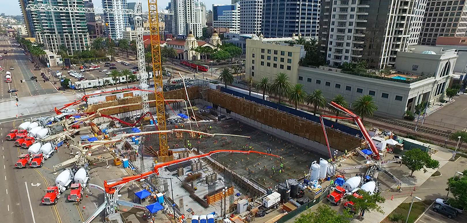 Morley record concrete pour pacific gate mixed use